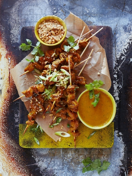 Азиатски мариновани свински шишчета на скара с чесън, джинджифил и куркума - снимка на рецептата